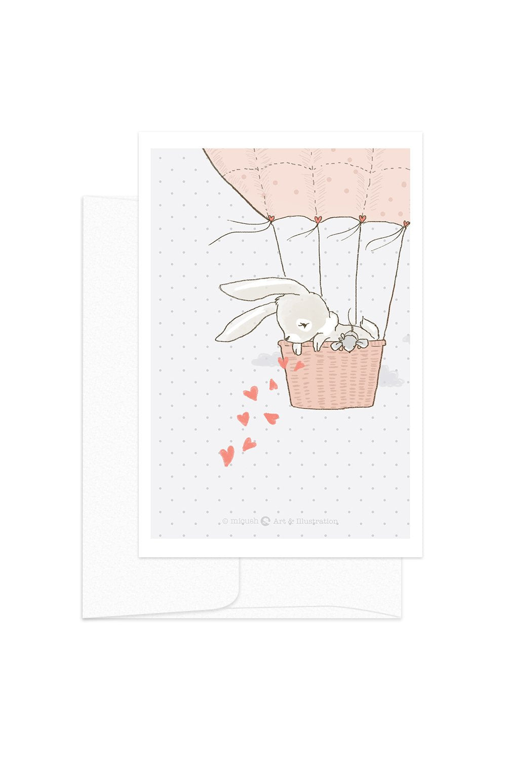 Card - Love Bunnies - Air Balloon