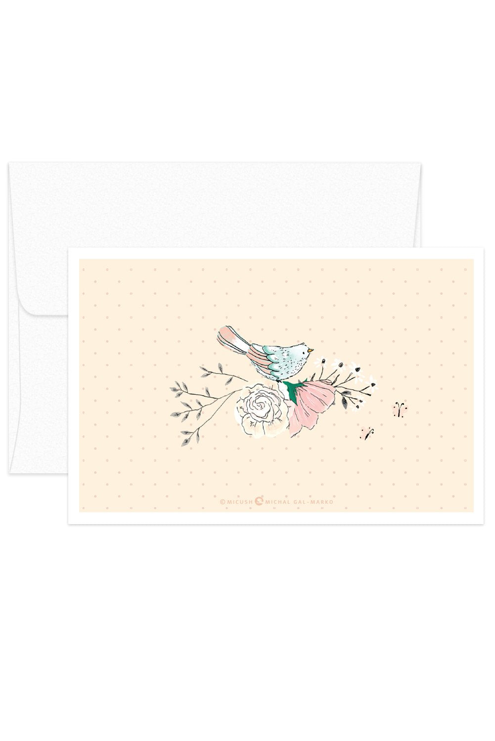 Card - Romantic Set - Bird & Flowers Yellow BG