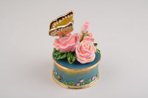 Pink Roses with Butterfly Trinket Box