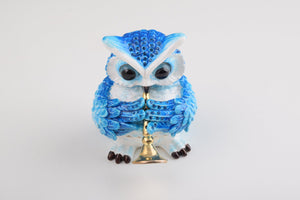 Blue Owl Playing Trumpet Trinket Box