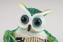 Green Owl Playing Accordion Trinket Box