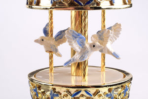 Blue Faberge Egg with Doves