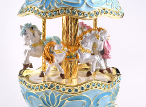 Teal Wind up Musical Carousel
