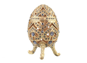 Gold Faberge Egg with Blue Crystals