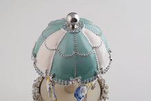 Light Blue Carousel Faberge Egg with White Royal Horses