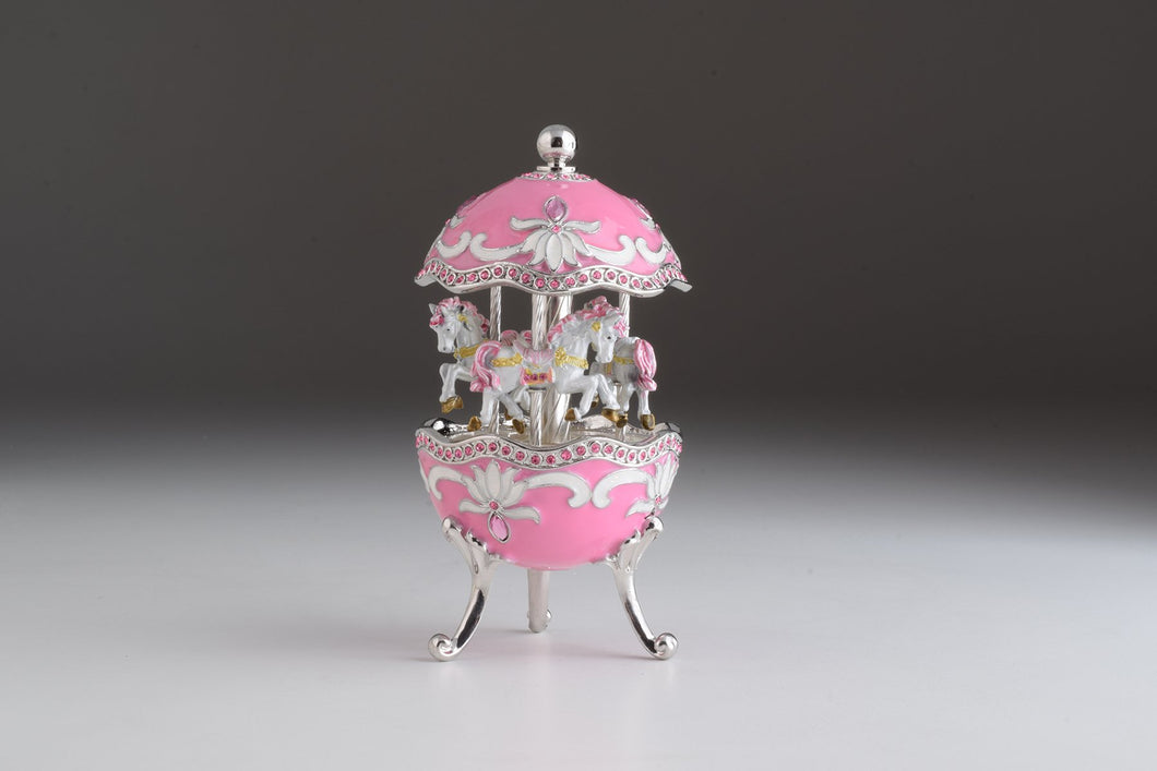 Pink Musical Carousel Faberge Egg with White Royal Horses