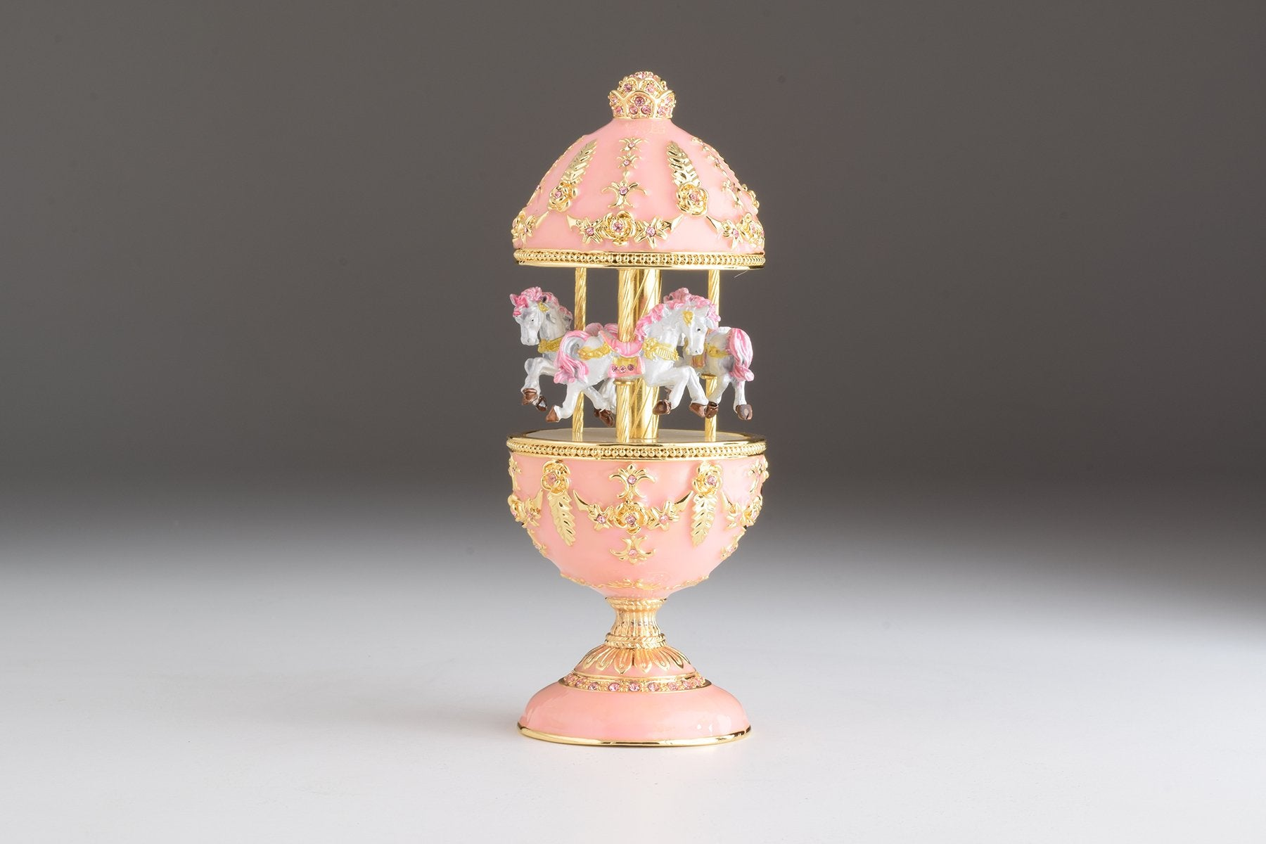 Pink Carousel Faberge Egg with White Royal Horses