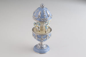 Light Blue Musical Carousel Faberge Egg