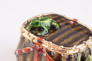 Brown Trinket Box with Frogs