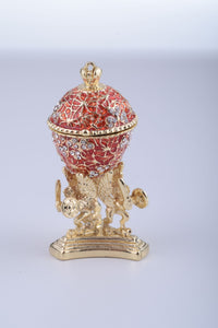 Red Faberge Egg with a Golden Frog Inside