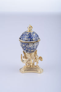 Blue Faberge Egg with a Golden Frog Inside