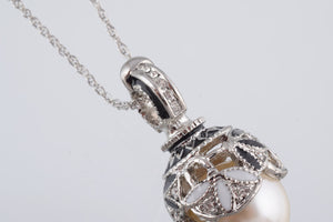 Silver & Black Pearl Egg Pendant Necklace