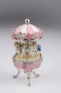 Pink Faberge Egg with Wind up Horse Carousel