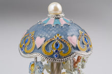 Light Blue Faberge Egg with Horse Carousel