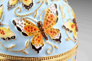 Blue Faberge Egg with Yellow Flowers
