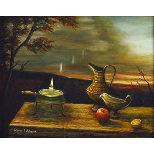 Candle and Pitchers on a Table by Rina Sutzkever