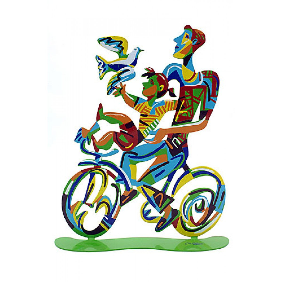 Father and Son Riding Bicycle by David Gerstein
