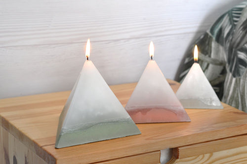 Scented Concrete Candle Pyramid Trio