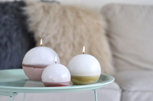 Scented Concrete Candle Sphere Trio