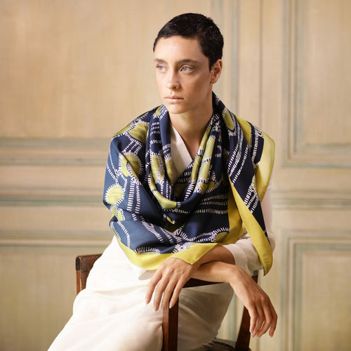 The Garden of Yellow Pearls Silk Scarf