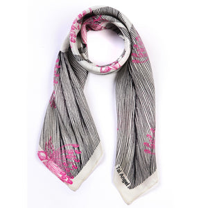 The-Pink-Line-Flower-Scarf-silk-carre-square-black-white-90x90-packshot