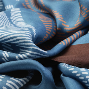 The-Window-of-Blue-Leaves -Silk-Scarf-square-carre-brown-white-135X135 cm-closeup2-by-Tal-Angel-hermes-sarti