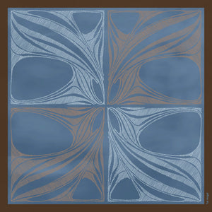 The-Window-of-Blue-Leaves -Silk-Scarf-square-carre-brown-white-135X135 cm-model-full-view-art-nouveau-pattern-hermes