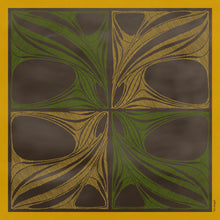 The-Window-of-Yellow-Leaves -Silk-Scarf-square-carre-brown-white-135X135 cm-model-full-view-Tal-Angel-hermes-sarti