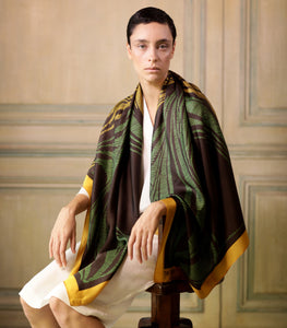 The-Window-of-Yellow-Leaves -Silk-Scarf-square-carre-brown-white-135X135 cm-model-model-closeup3-by-Tal-Angel-hermes-faliero-sarti