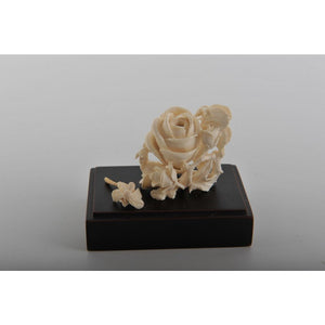 Mammoth Ivory- Snuff Bottle Butterfly on a Rose