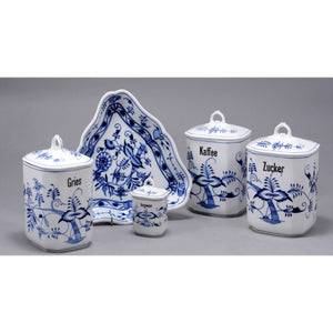 Antique European Porcelain Containers with Covers - Blue and White