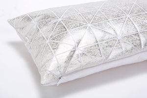 Metallic Foil Print On Fabric Linen 19.5x11.8 Inch White Print On White Fabric, Coated With Silver Foil, Bling cushion
