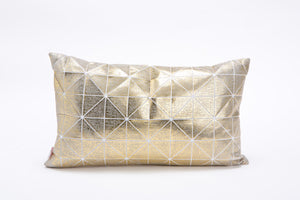 Metallic Foil Print On Fabric Linen 19.5x11.8 Inch White Print On White Fabric, Coated With Gold On Grey Foil, Bling cushion