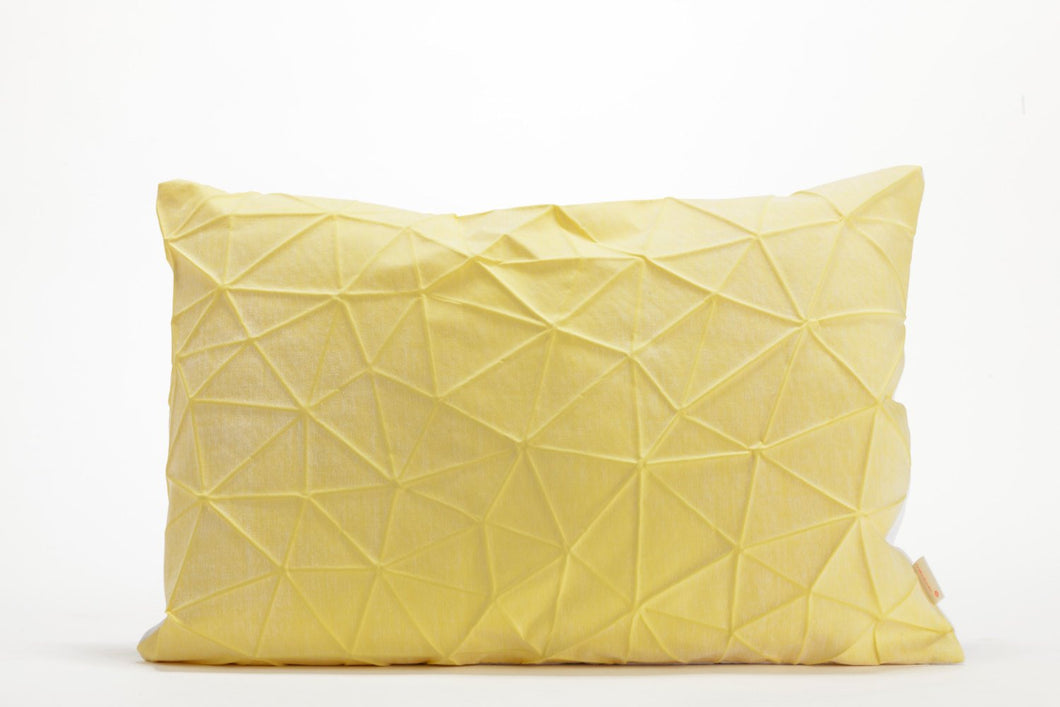 White and Yellow origami throw pillow cover 55x40 cm, 21.6X16