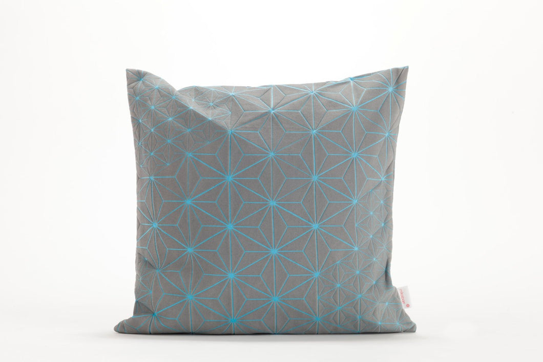 "Gray & Light Blue designer throw pillow cover 15.7x15.7"". Japanese inspired decorative design. Removable printed pillow cover. Tamara pillow"