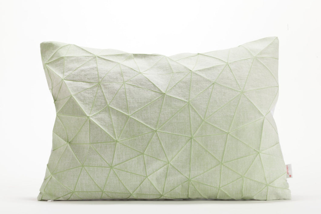 White and Light Green origami throw pillow cover 55x40 cm, 21.6X16