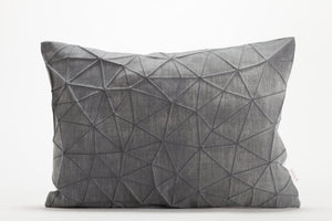 "White and Dark Grey origami throw pillow cover 55x40 cm, 21.6X16 "", Printed geometric cushion cover. Irad pillow"