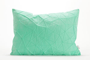 "White and Mint origami throw pillow cover 55x40 cm, 21.6X16 "", Printed geometric cushion cover. Irad pillow"