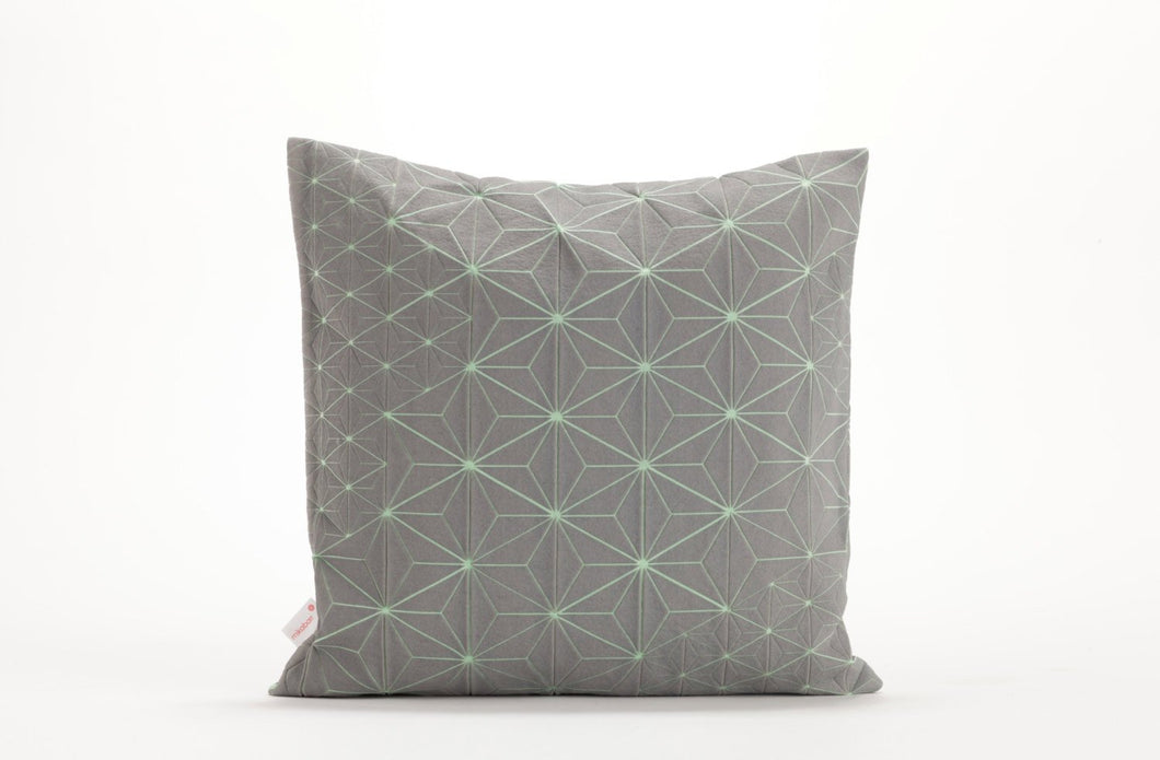 "Gray & Green designer throw pillow cover 15.7x15.7"" . Japanese inspired decorative design. Removable printed pillow cover. Tamara pillow"