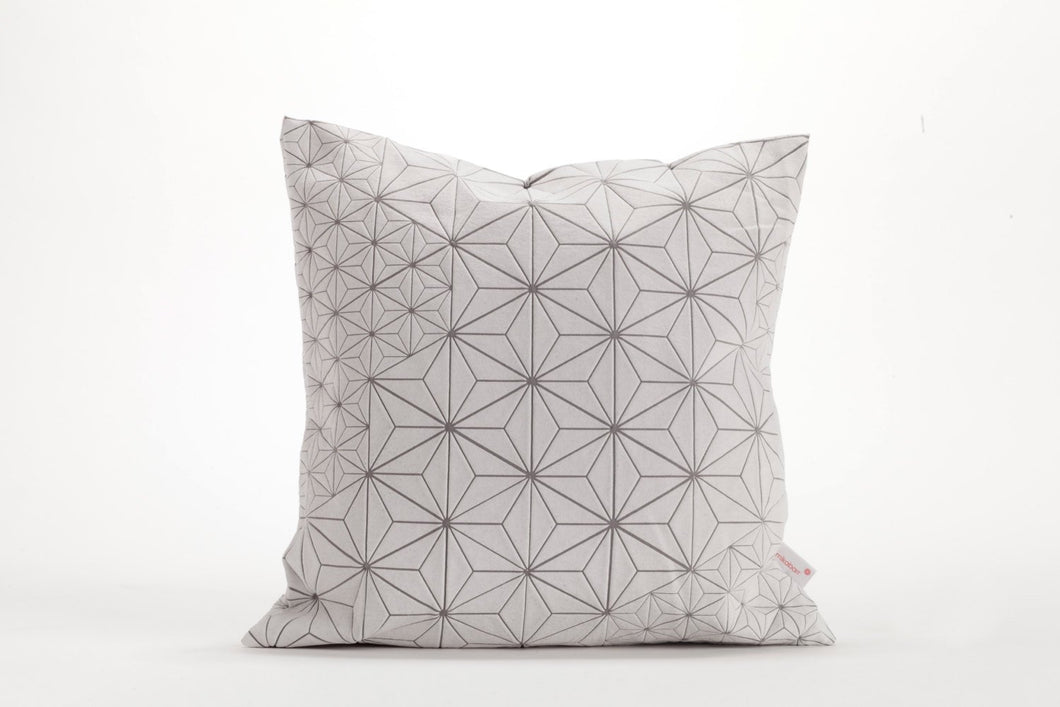 "White and Grey designer throw pillow cover 15.7x15.7"". Japanese inspired decorative design. Removable printed pillow cover, Tamara pilow"