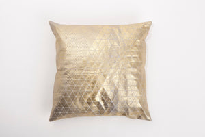 Metallic Foil Print On Fabric Linen 19.5x19.5 Inch White Print On White Fabric, Coated With Gold On Grey Foil, Bling cushion