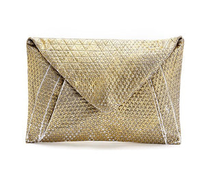 Metallic Foil Print On Fabric clutch bag Grey Print On White Fabric, Coated With Gold Foil, Goldy bag - PRE-ORDER