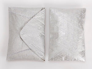 Metallic Foil Print On Fabric clutch bag white Print On White Fabric, Coated With Silver Foil, Goldy bag