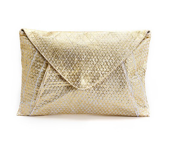 Metallic Foil Print On Fabric clutch bag white Print On White Fabric, Coated With Gold Foil, Goldy bag