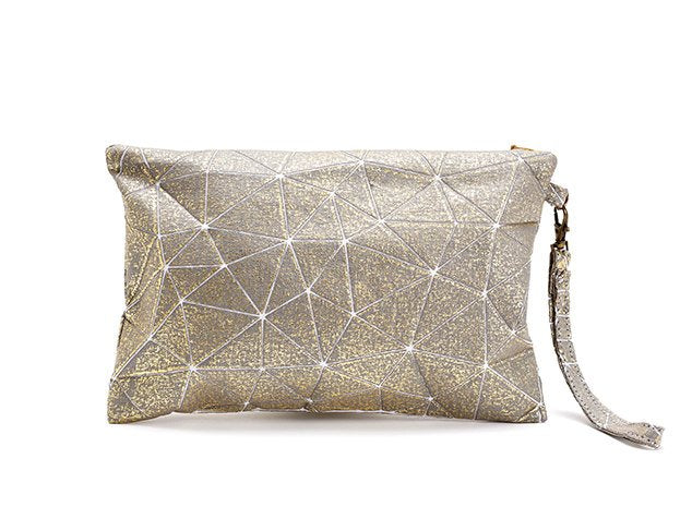 Metallic Foil Print On Fabric clutch bag grey Print On White Fabric, Coated With Gold Foil, Grit bag