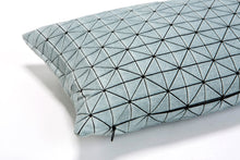 Grey and black origami geometric rectangle pillow cover 30X60 cm, 11.8X23.6 inch, Printed folding cushion Home decor accessory, Geo pillow