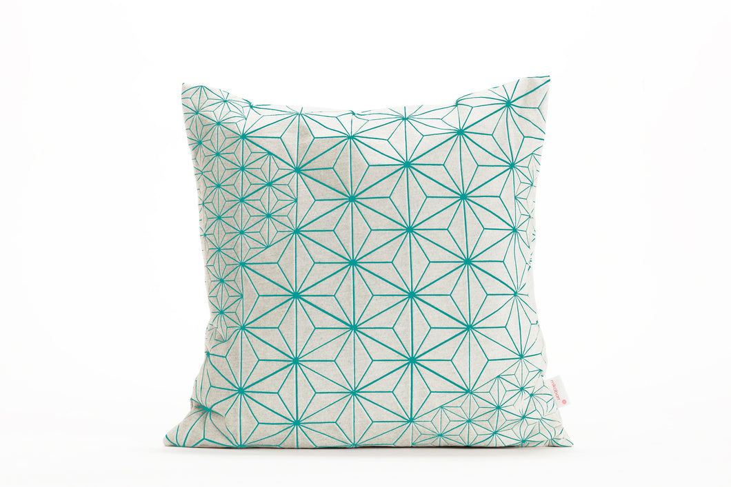 "Turquoise & white designer throw pillow cover 15.7x15.7"". Japanese inspired decorative design. Removable printed pillow cover, Tamara pillow"