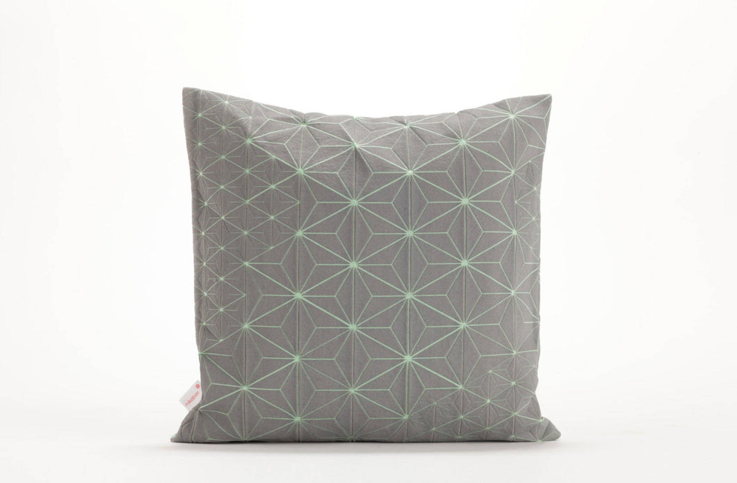 "Gray & Green designer throw pillow cover 19.7x19.7"" . Japanese inspired decorative design. Removable printed pillow cover. TamaraM pillow"