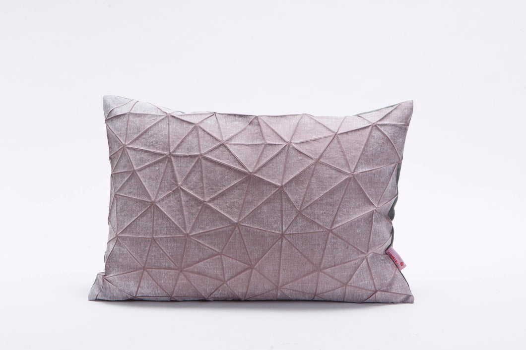 Pale violet origami throw pillow cover 55x40 cm, 21.6X16