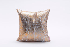 Copper Square Cushion Cover with Matt Finish, Leaves Print, Bling Pinion Limited Edition, Foil Print On Fabric Linen Silver